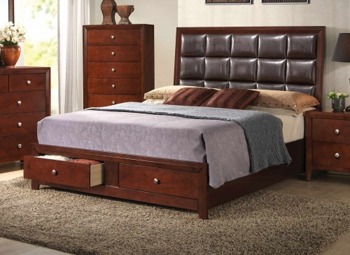Ilana Bed with Storage - Brown Vinyl/Cherry