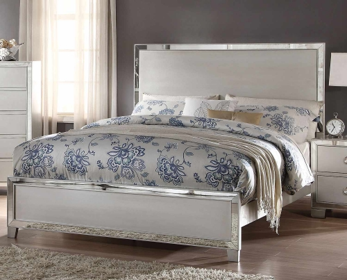 Acme Voeville II Bed (Wooden HB)- Platinum