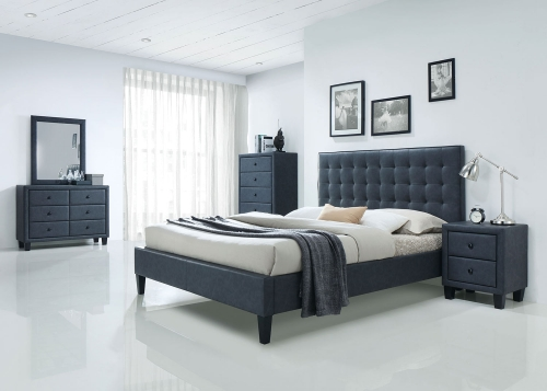 Saveria Bedroom Set - 2-Tone Gray Vinyl
