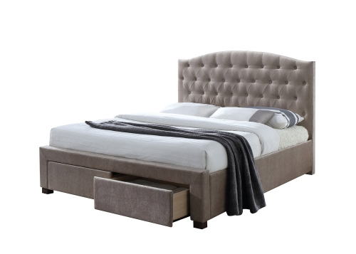 Denise Bed with Storage - Mink Fabric