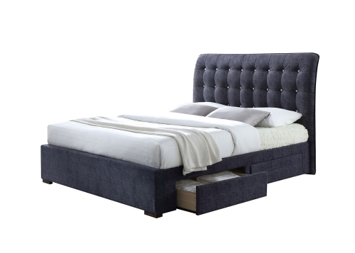Drorit Queen Bed with Storage - Dark Gray Fabric