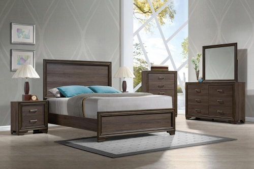 Cyrille Bedroom Set (Wooden HB) - Walnut