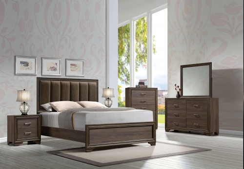 Cyrille Bedroom Set (Padded HB) - Fabric/Walnut