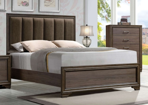 Cyrille Bed (Padded HB) - Fabric/Walnut