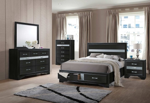 Naima Bedroom Set with Storage - Black