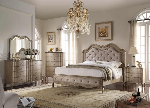 Chelmsford Bedroom Set - Beige Fabric/Antique Taupe