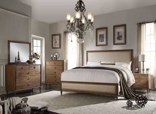 Inverness (Parker) Bedroom Set - Beige Linen/Reclaimed Oak