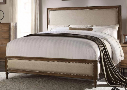 Inverness (Parker) Bed - Beige Linen/Reclaimed Oak