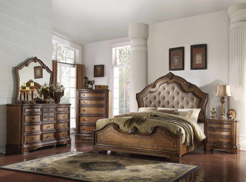 Valletta Bedroom Set - Fabric/Latte Oak