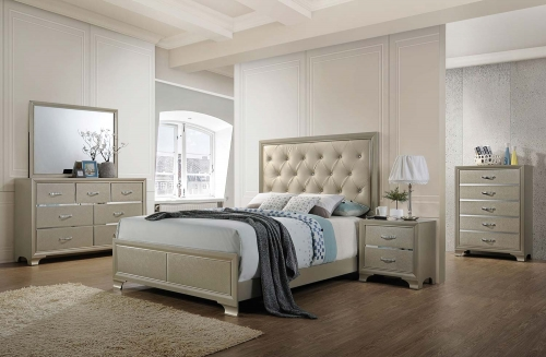 Carine Bedroom Set - Vinyl Champagne