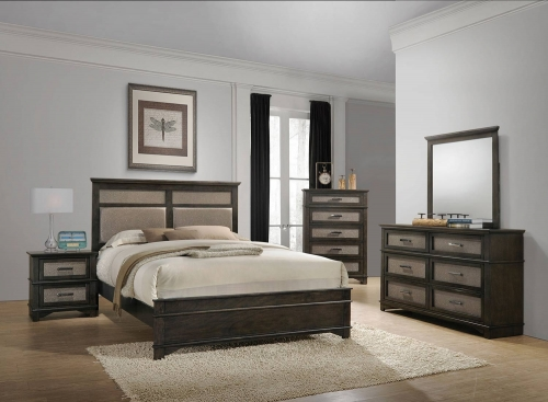 Anatole Bedroom Set - Copper Vinyl/Dark Walnut