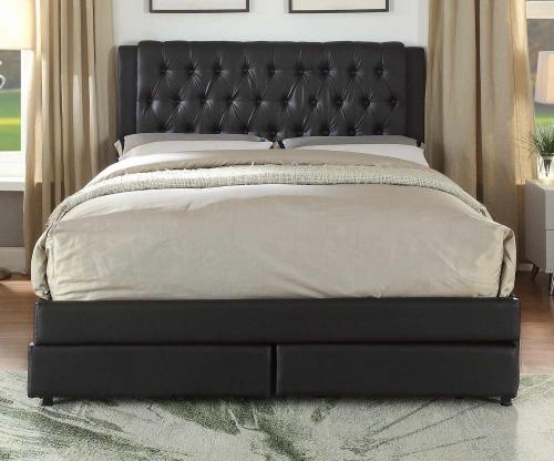 Wibier Queen Bed with Storage - Espresso Vinyl
