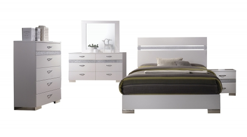 Naima II Bedroom Set - White(High Gloss)