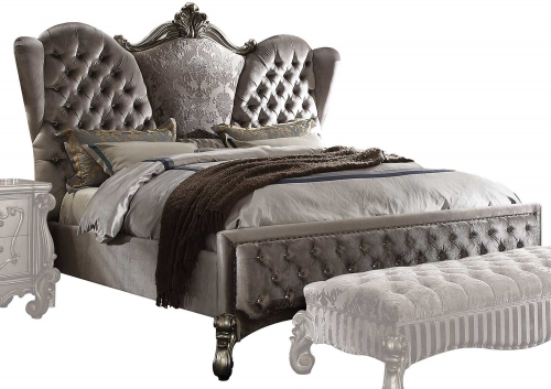 Acme Versailles Bed - Velvet/Antique Platinum