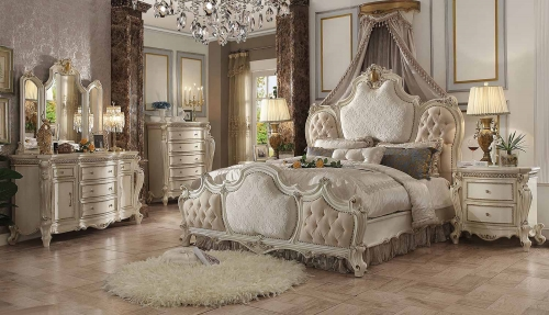 Picardy Bedroom Set - Fabric/Antique Pearl