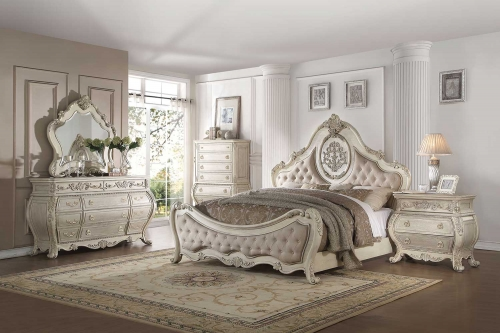 Acme Ragenardus Bedroom Set - Beige Linen/Antique White