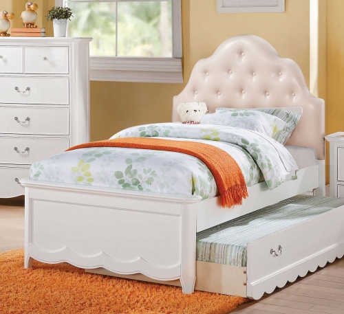 Cecilie Bed (Padded HB) - Light Pink Vinyl/White