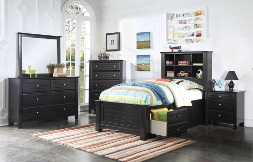 Mallowsea Bedroom Set with Storage Rail - Black