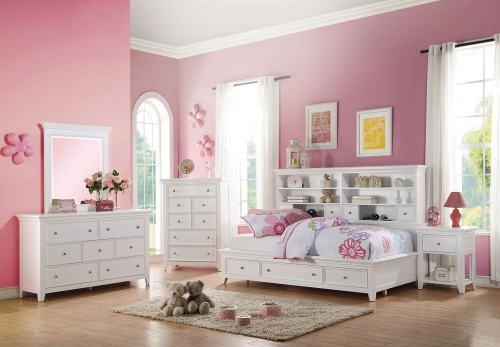 Lacey Daybed Room Set with Storage - White