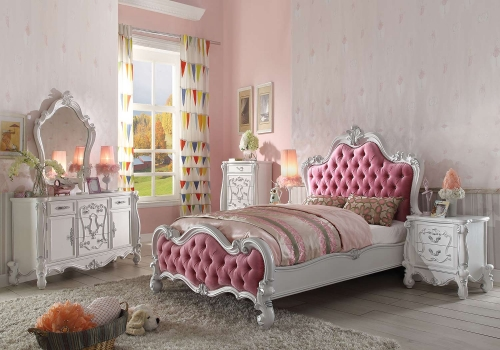 Versailles Bedroom Set - Pink Fabric/Antique White