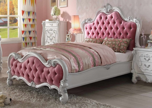 Acme Versailles Bed - Pink Fabric/Antique White