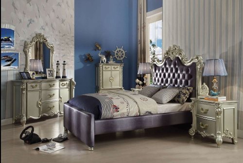 Vendome II Bedroom Set - Gray Fabric/Champagne