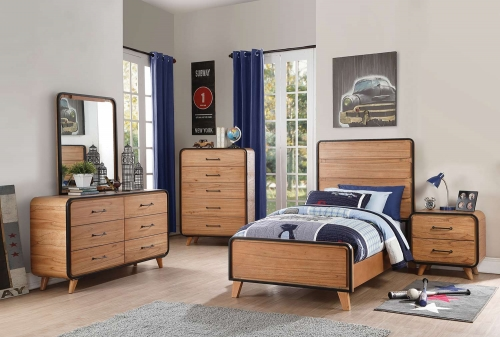 Carla Bedroom Set - Oak/Black