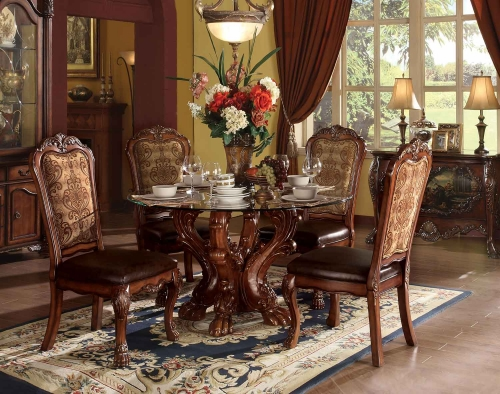 Dresden Dining Set with Single Pedestal - Cherry Oak