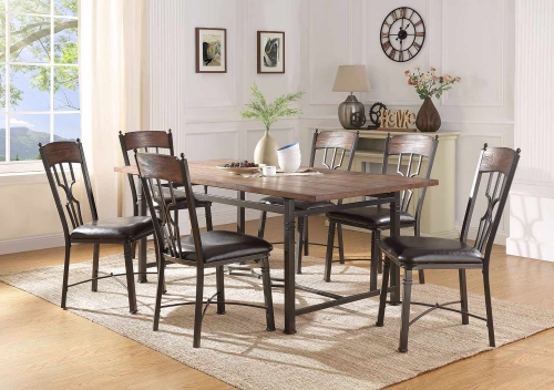 LynLee Dining Set - Weathered Dark Oak/Dark Bronze