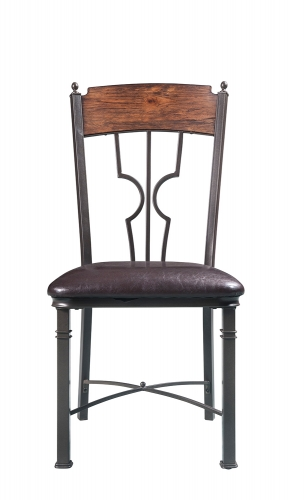 LynLee Side Chair - Espresso Vinyl/Dark Bronze