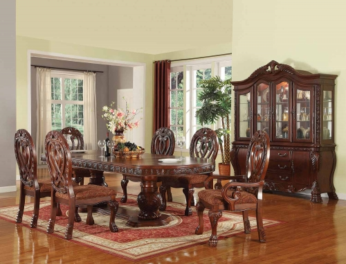 Quinlan Dining Set with Double Pedestal - Cherry