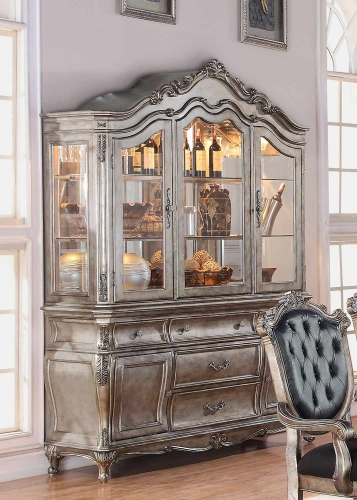 Chantelle Hutch and Buffet - Antique Platinum