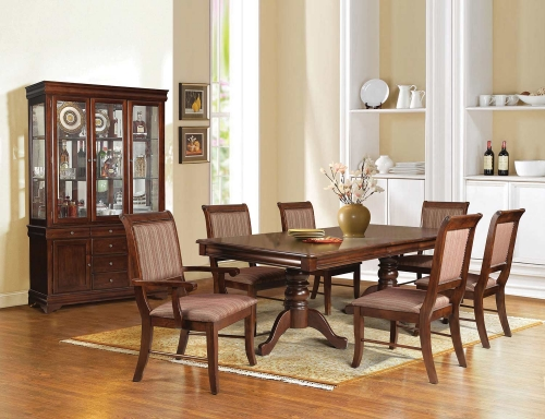 Mahavira Dining Set with Double Pedestal - Espresso
