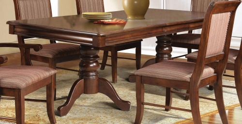 Mahavira Dining Table with Double Pedestal - Espresso