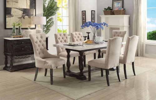 Gerardo Dining Set - White Marble/Weathered Espresso