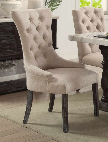 Gerardo Arm Chair - Beige Linen/Weathered Espresso