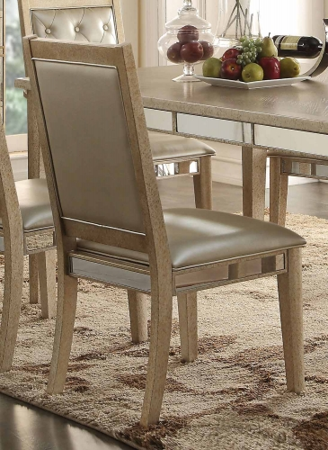 Acme Voeville Side Chair - Matte Gold Vinyl/Antique Gold