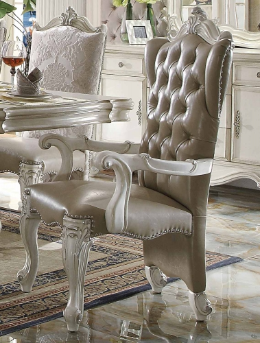 Acme Versailles Arm Chair - Vintage Gray Vinyl/Bone White