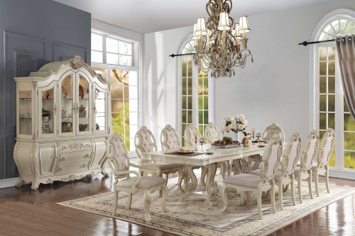 Acme Ragenardus Dining Set with Double Pedestal - Antique White
