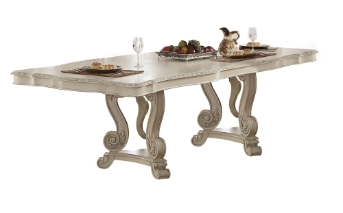 Acme Ragenardus Dining Table with Double Pedestal - Antique White