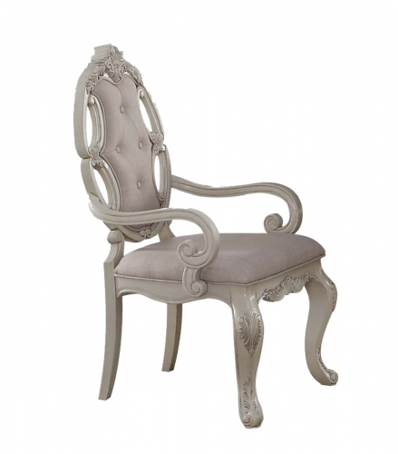 Acme Ragenardus Arm Chair - Fabric/Antique White
