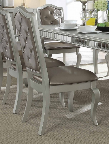 Francesca Side Chair - Silver Vinyl/Champagne