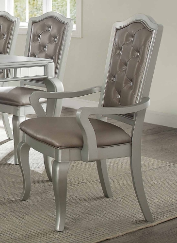 Francesca Arm Chair - Silver Vinyl/Champagne
