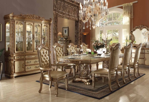 Acme Vendome Dining Set with Double Pedestal - Gold Patina/Bone