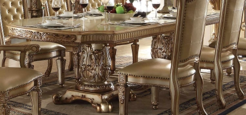 Acme Vendome Dining Table with Double Pedestal - Gold Patina/Bone