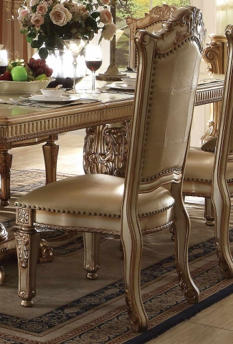 Acme Vendome Side Chair - Bone Vinyl/Gold Patina