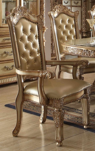 Vendome Arm Chair - Bone Vinyl/Gold Patina