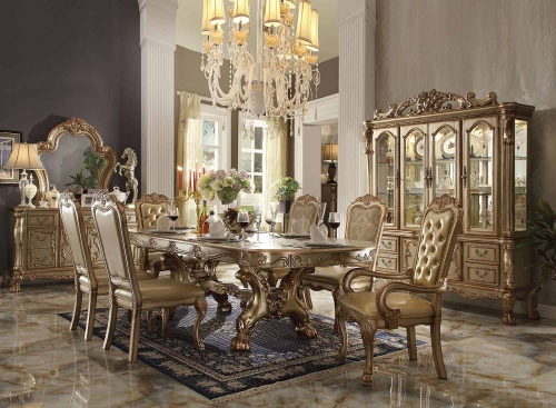 Dresden Dining Set with Trestle Pedestal - Gold Patina/Bone