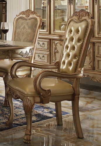 Dresden Arm Chair - Bone Vinyl/Gold Patina