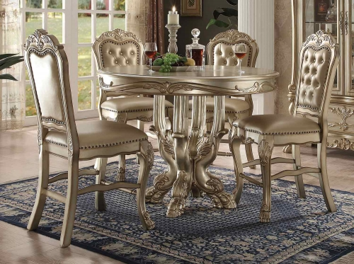 Dresden Counter Height Dining Set - Gold Patina/Bone